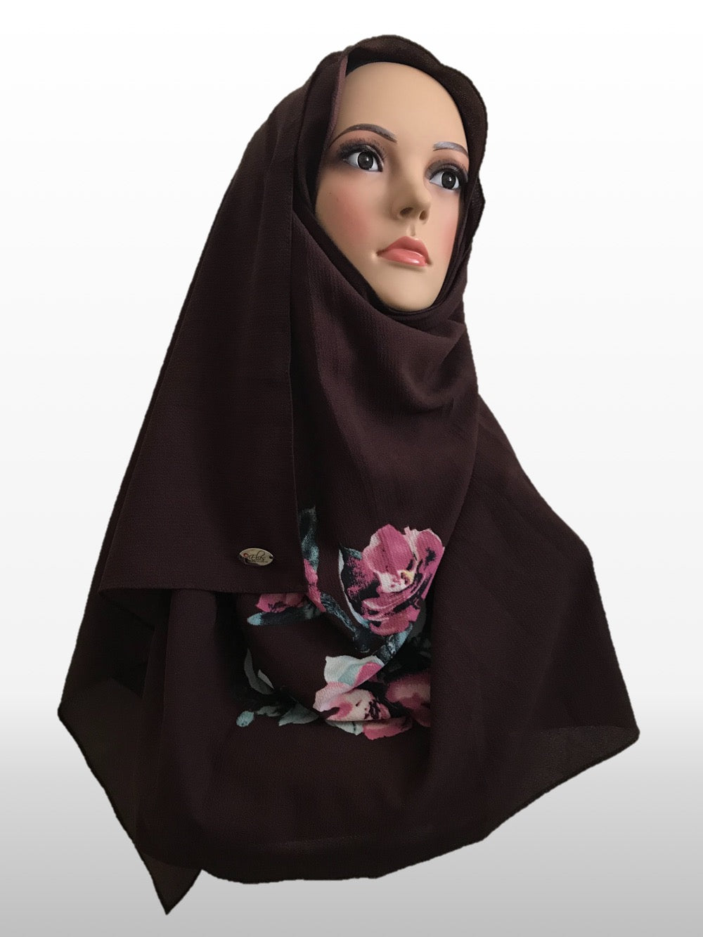 Big Flower dark brown instant hijab