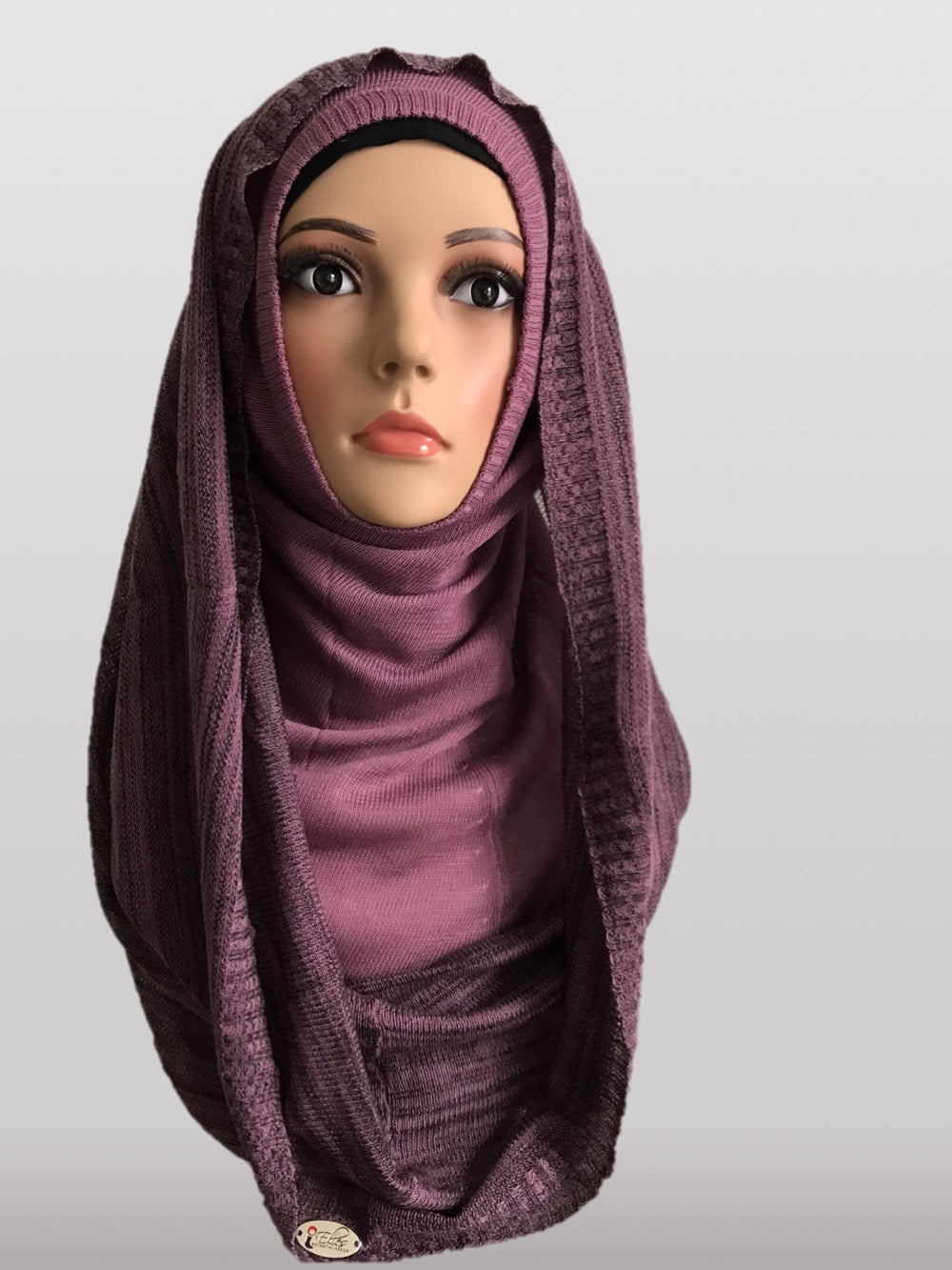 Hooded knitted instant purple black