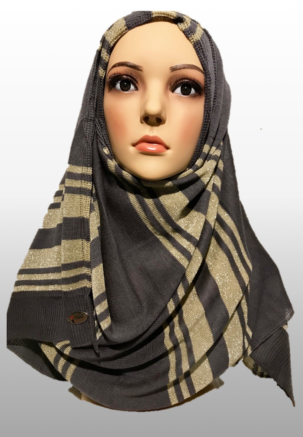 Knitted instant hijab grey gold GLI001