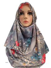 (S4LGrey) Light grey printed full instant hijab