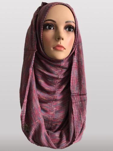 Hooded knitted instant hijab purple pink