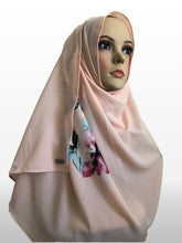 Big Flower soft coral instant hijab