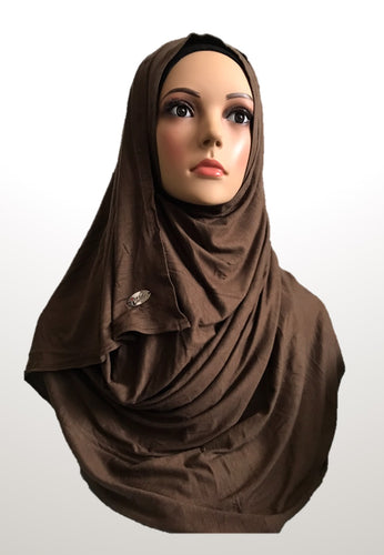 Milk Chocolate stretchy (COT) instant hijab SF