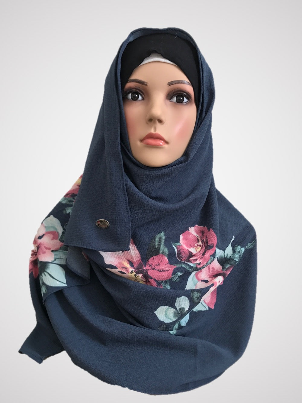 Big flower Dusky Blue instant hijab