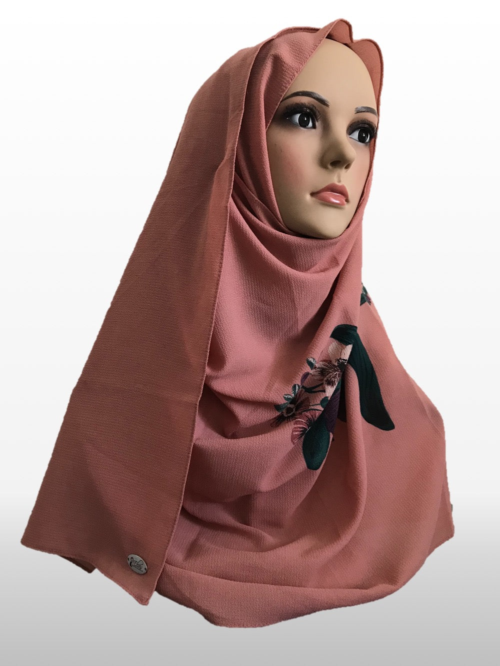 Big flower dark coral instant hijab