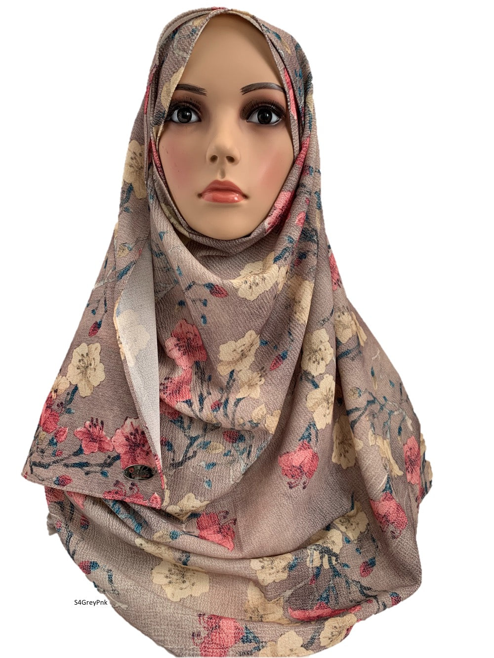 (S4GreyPnk) Light grey pink printed full instant hijab