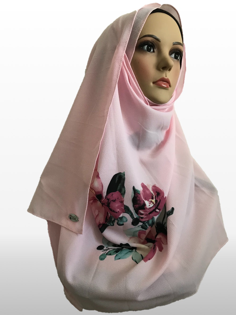 Big flower carnation pink instant hijab
