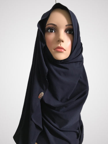Catacean navy blue stretchy (KOR) instant hijab CF