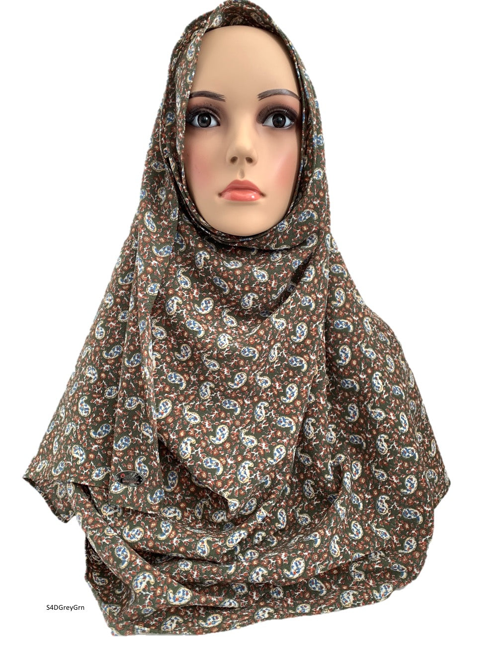 (S4DGreyGrn) Grey Green printed full instant hijab