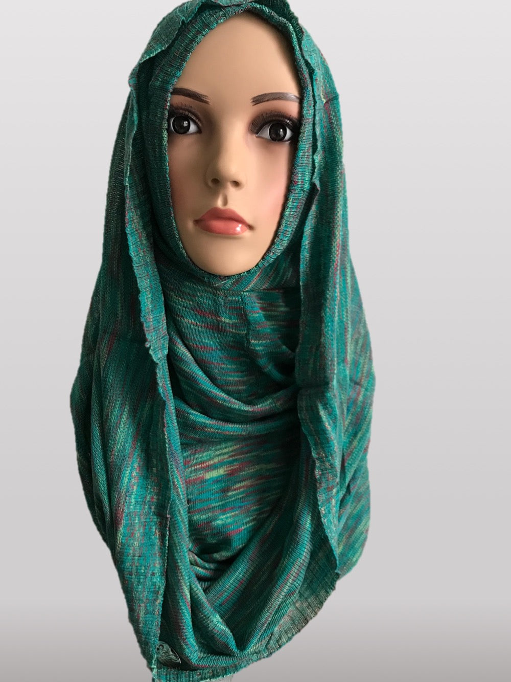 Hooded knitted instant hijab green