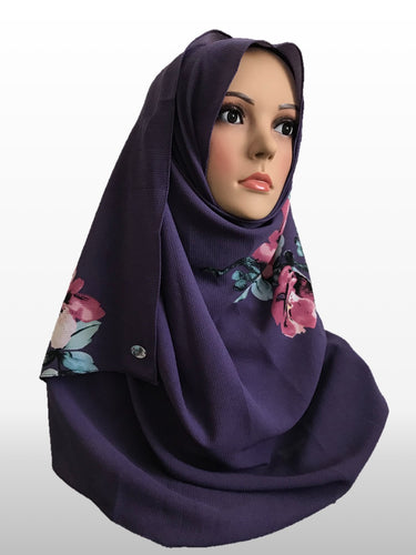 Big Flower dark purple instant hijab