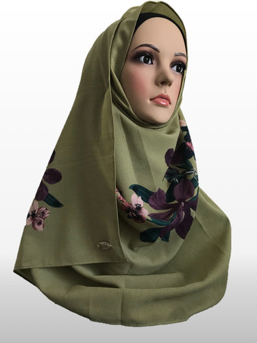Big Flower olive instant hijab