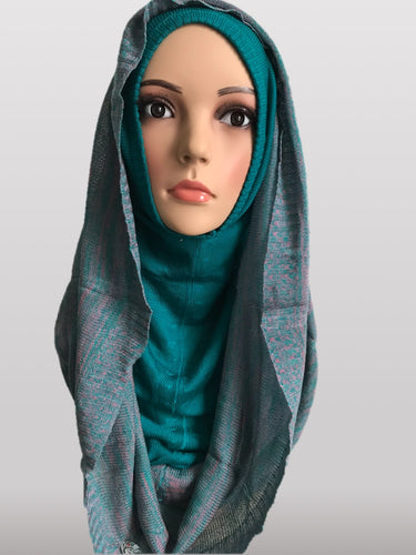 Hooded knitted Instant hijab green grey