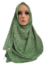 (S4LimGrn) Green White printed full-instant hijab