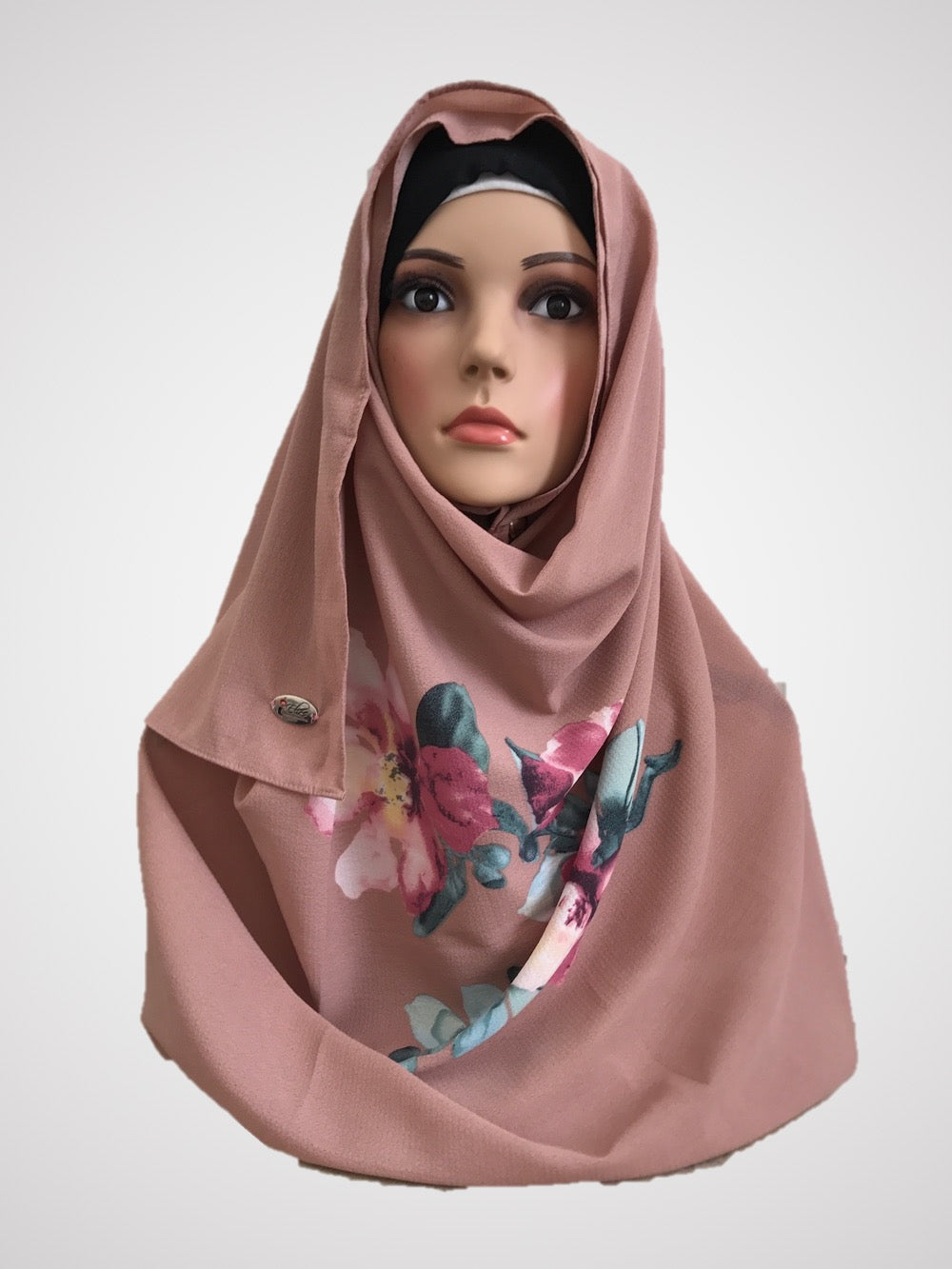 Big flower rosy pink instant hijab