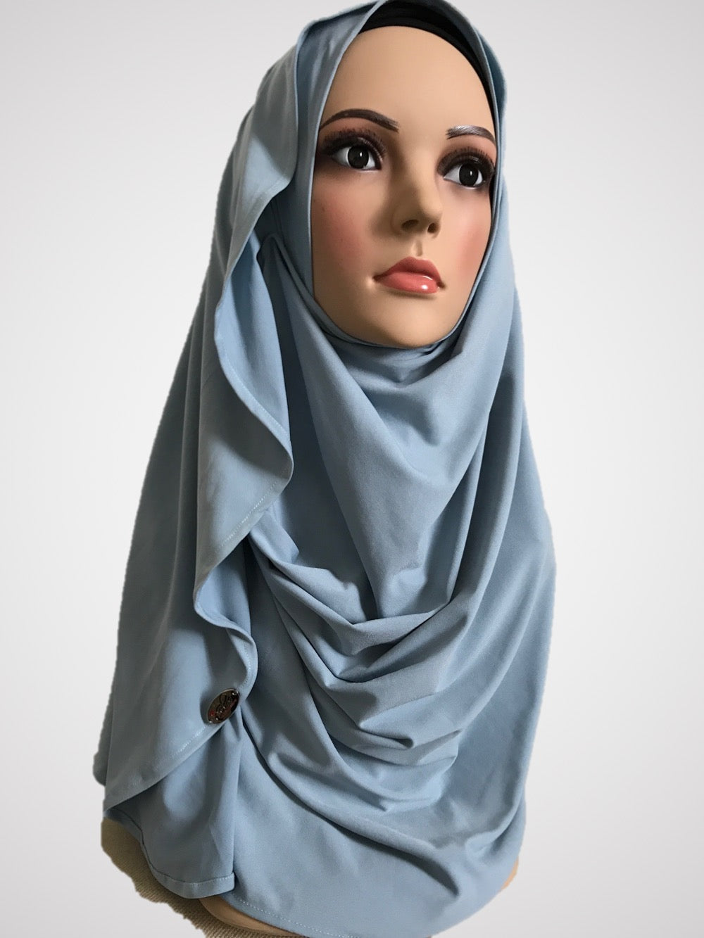 Columbia Sky Blue stretchy (KOR) instant hijab CF