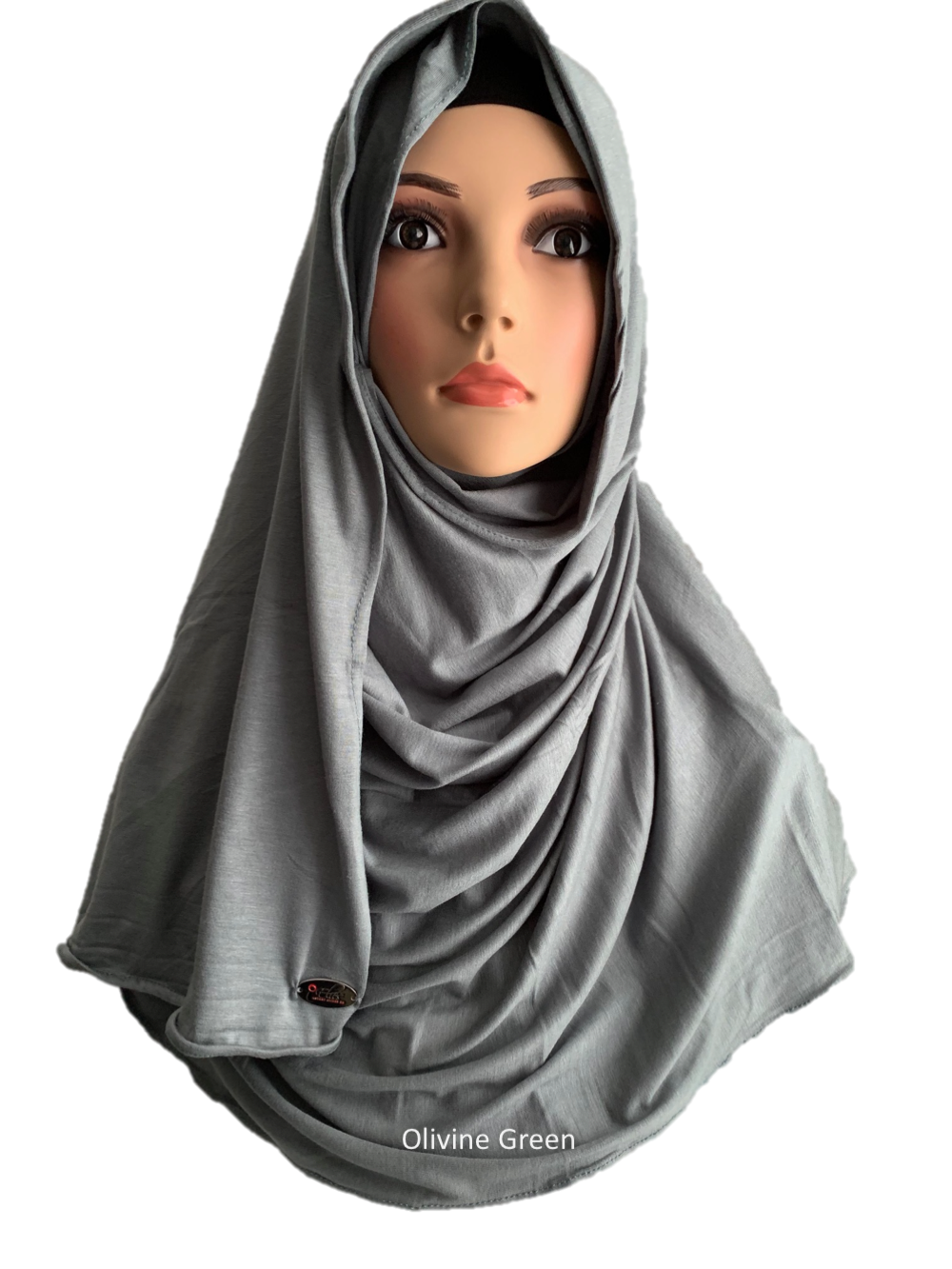 Olivine Green stretchy (COT) instant hijab SF