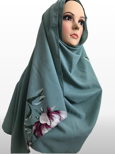 Big Flower light green instant hijab