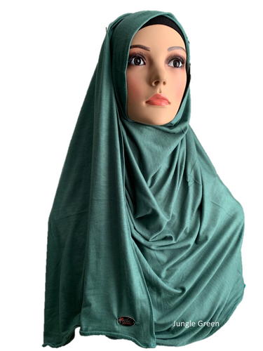 Jungle Green stretchy (COT) instant hijab SF