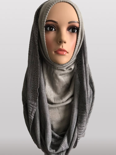 Hooded knitted instant hijab grey