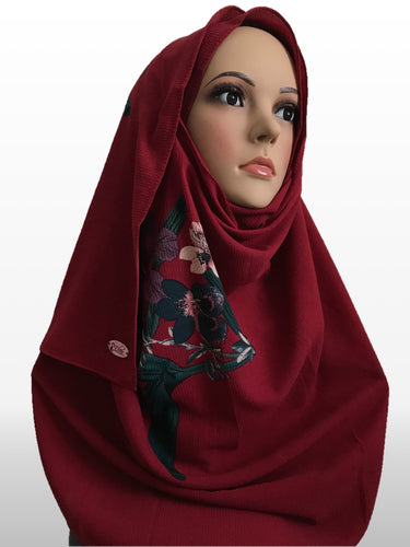 Big flower dark red instant hijab