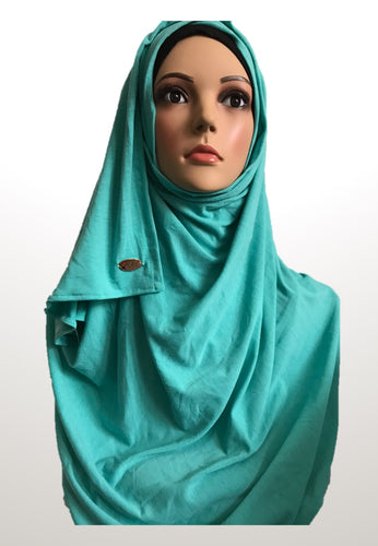 Persian green stretchy (COT) instant hijab SF