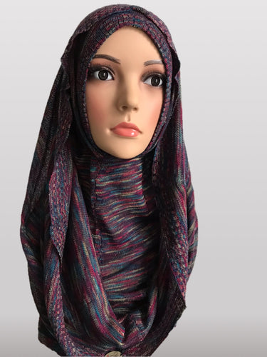 Hooded knitted instant hijab maroon lines