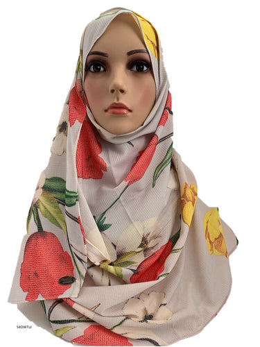 (S4OWTul) Off-white tulips printed full-instant hijab
