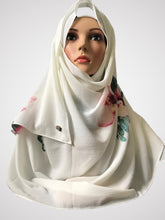 Big flower off white instant hijab