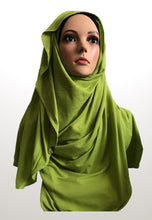 Citron green stretchy (COT) instant hijab CF