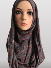 Hooded knitted instant hijab grey green lines