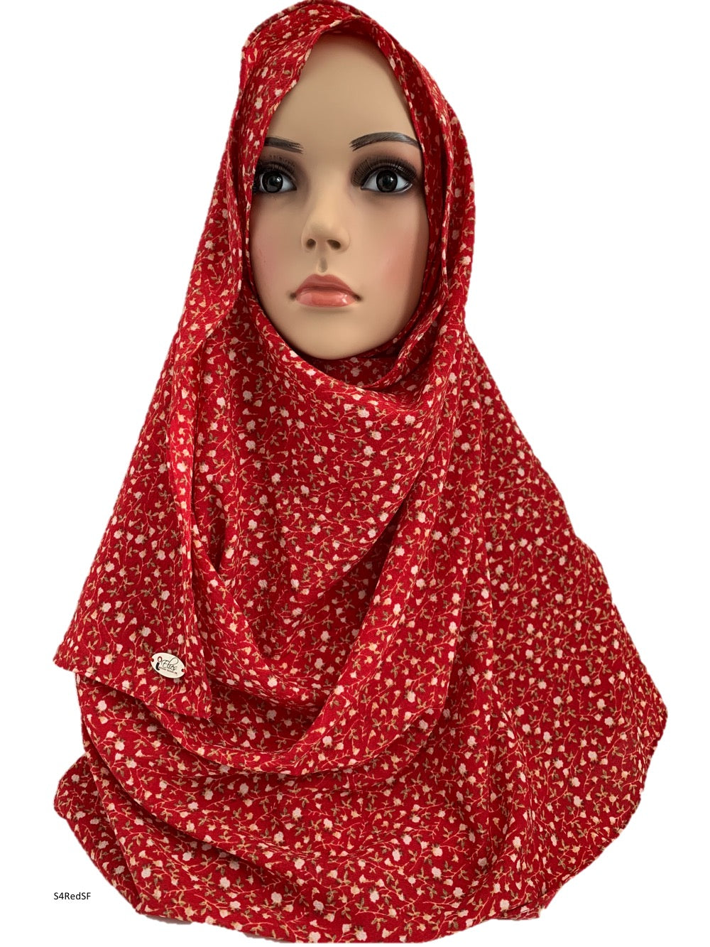(S4RedSF) Red small flowers full-instant hijab
