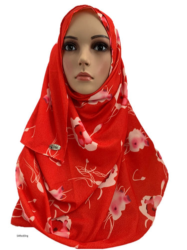 (S4RedOrg) Red Orange printed full-instant hijab