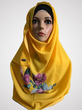 Big flower sunflower yellow instant hijab