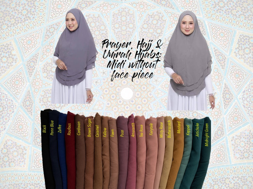 Prayer, Hajj & Umrah Hijabs Midi (without face piece)