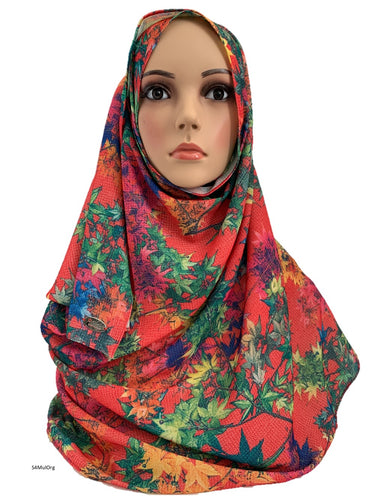 (S4MulOrg) Multi-orange printed full-instant hijab