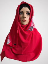Big flower strawberry red instant hijab