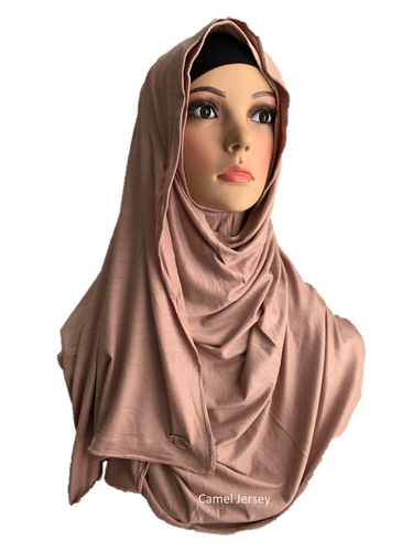 Camel Jersey stretchy (COT) instant hijab SF