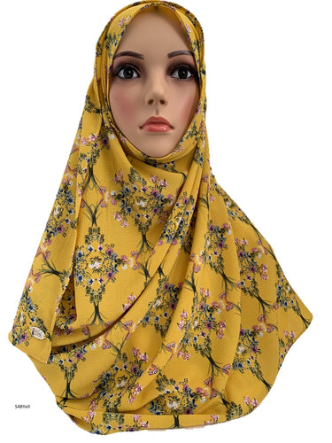 (S4BYell) Yellow printed full-instant hijab