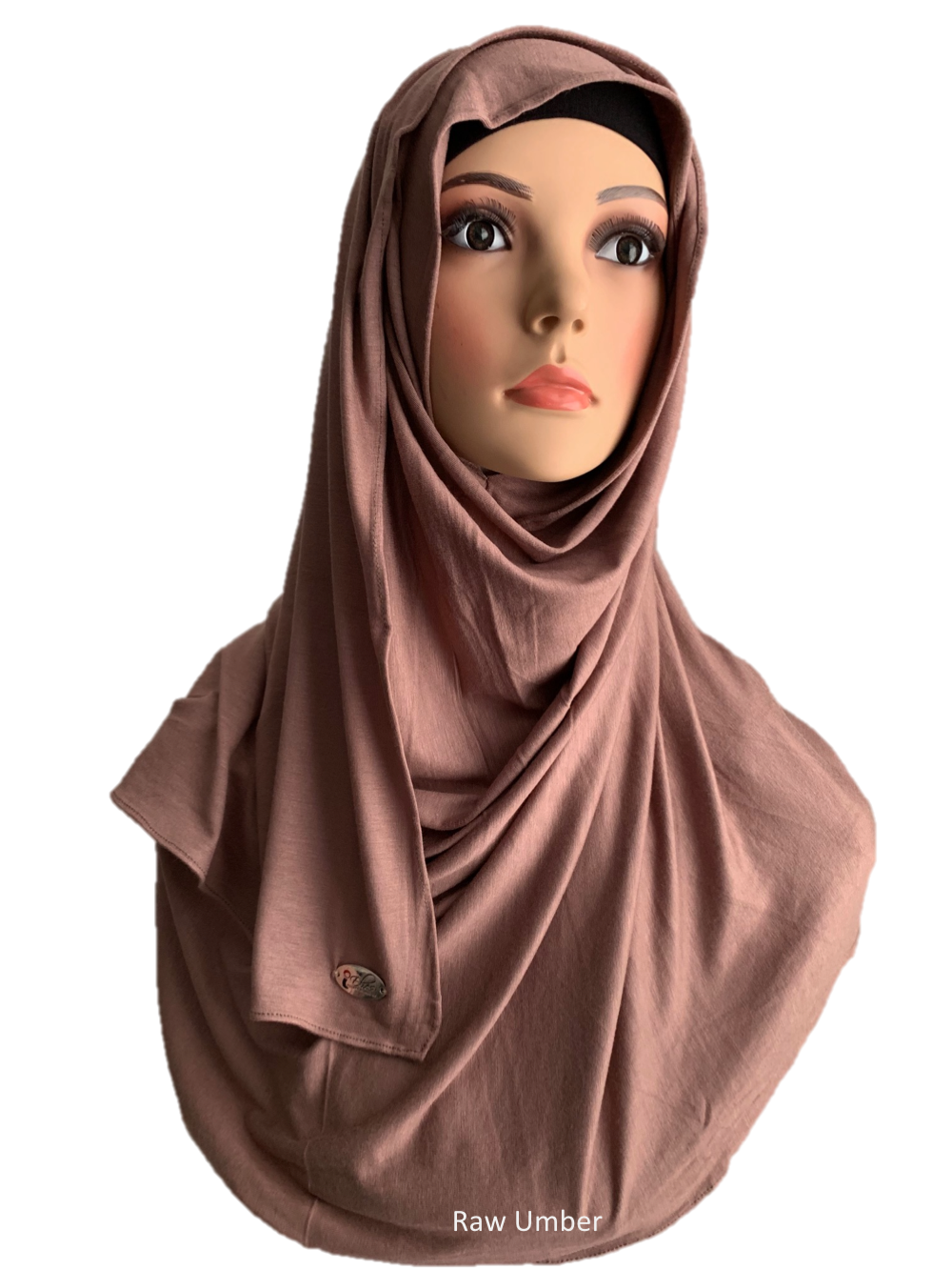 Raw Umber stretchy (COT) instant hijab SF