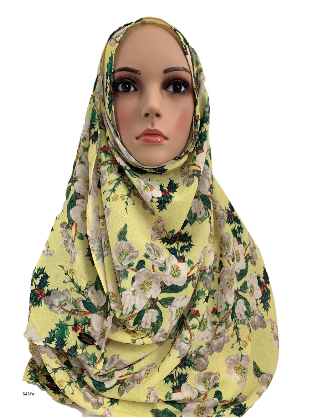 (S4SYell) Light Yellow printed full-instant hijab