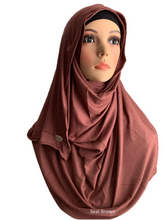 Seal Brown stretchy (COT) instant hijab SF