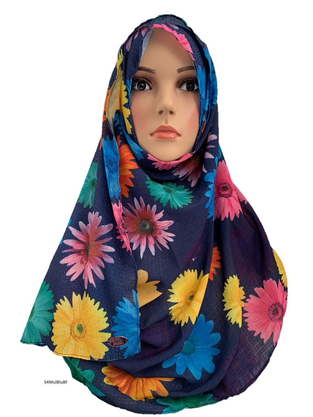 (S4MulBluBF) Blue multi flower printed full-instant hijab
