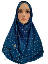 (S4BluSF) Blue small flower printed full-instant hijab