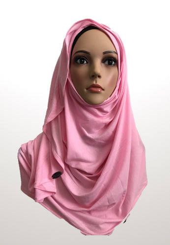 Bubble gum pink stretchy (COT) instant hijab CF