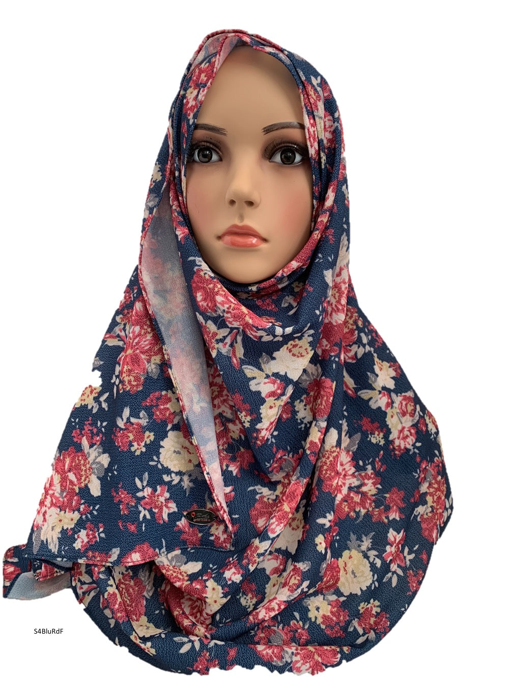 (S4BluRdF) Blue red flower printed full-instant hijab