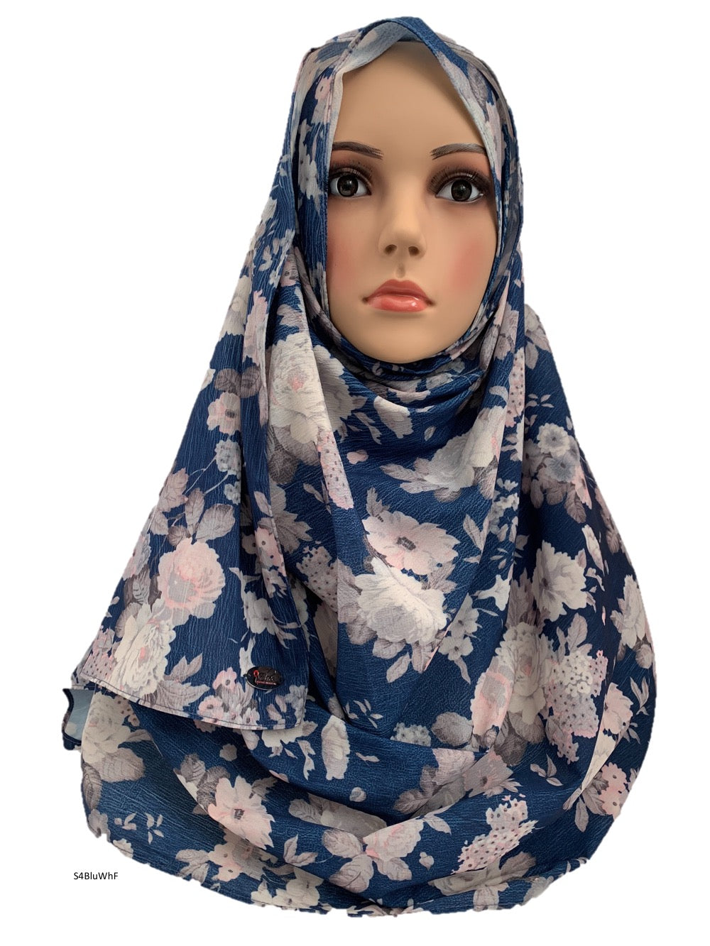 (S4BluWhF) Blue white flower printed full-instant hijab