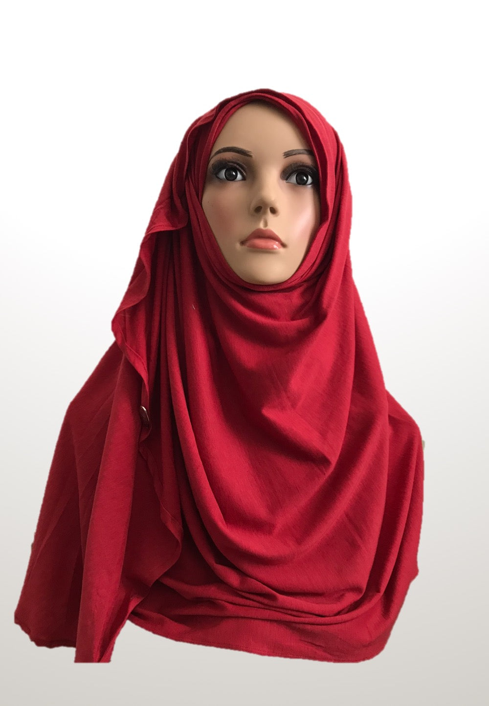 Crimson red stretchy (COT) instant hijab CF