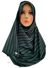 (S4GrnLn) Green black lines printed full-instant hijab