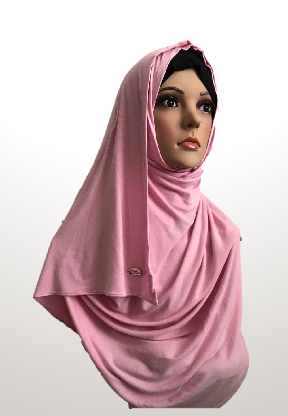 Cherry blossom pink stretchy (COT) instant hijab SF
